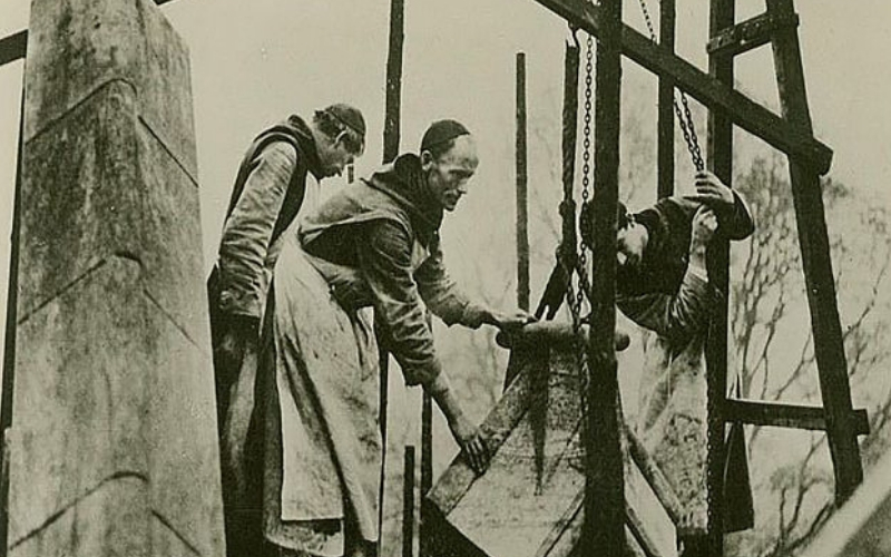 Monks using Scaffolding